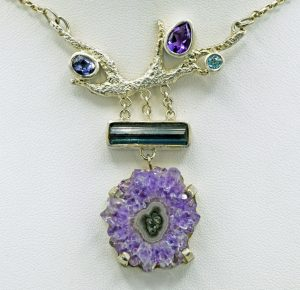 Amethyst stalactite branch necklace