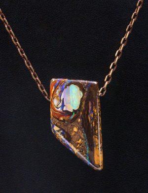 Australian boulder opal pendant necklace 1