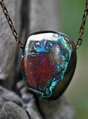 Australian boulder opal pendant necklace 3