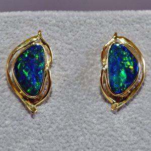 Boulder opal and 14K gold earrings