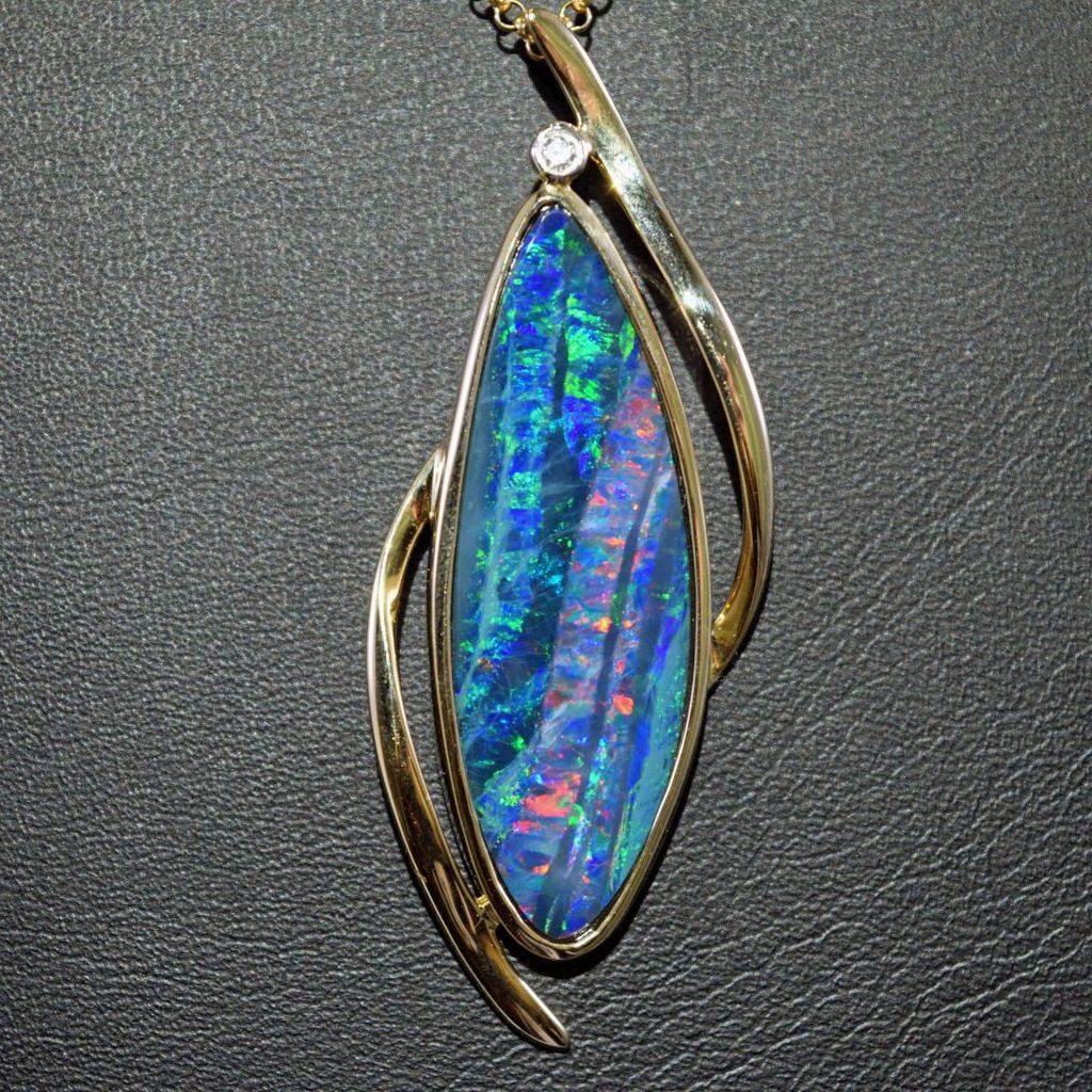 Geoclassics australian boulder opal diamond 14k gold for Jewelry stores boulder co