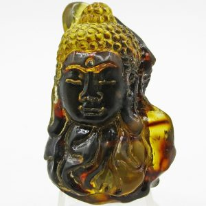 Buddha head carved from Sumatra blue amber