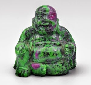 Ruby in zoisite Buddha carving