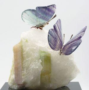 Fluorite butterflies on tourmaline quartz