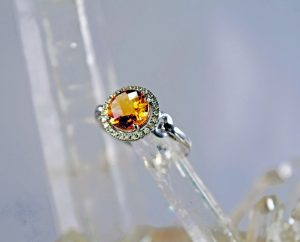 Citrine and diamond 8mm round halo 14K white gold ring
