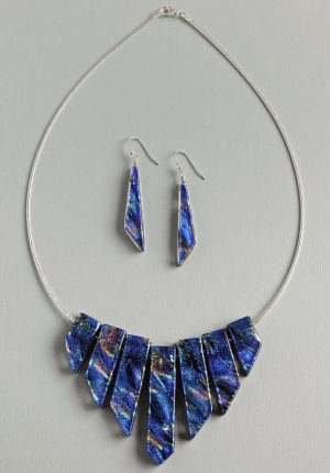 Dichroic glass Cleopatra necklace with comet earrings in blue