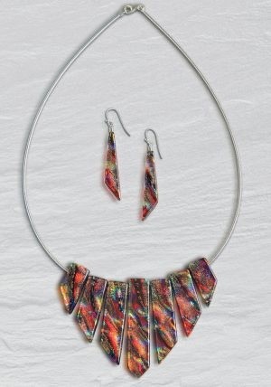 Red dichroic glass Cleopatra necklace with comet earrings