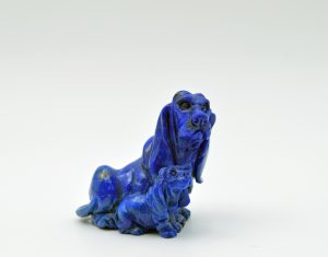 Lapis dog and puppy carving