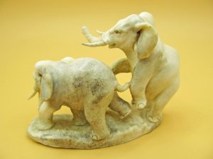 Elephants carved from moose antler