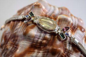 Faceted rutilated quartz foxtail bracelet
