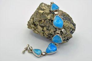 Hemimorphite five stone bracelet