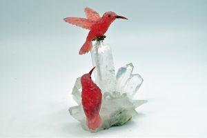 Rhodochrosite hummingbirds