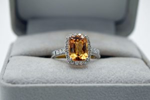 Imperial topaz and diamond rectangle 14K white gold ring