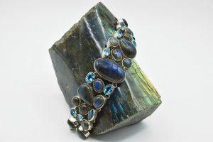 Labradorite and blue topaz bracelet