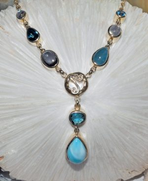 Larimar, aquamarine, London blue topaz, iolite, rainbow moonstone necklace