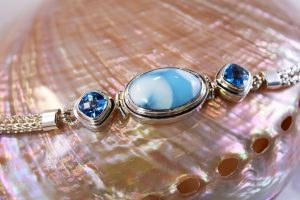 Larimar foxtail chain bracelet accented with blue topaz