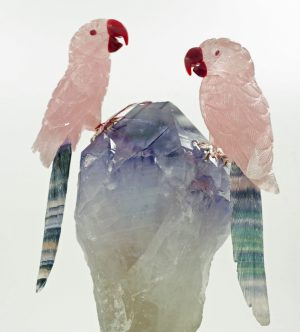 Rose quartz fluorite macaws on amethyst