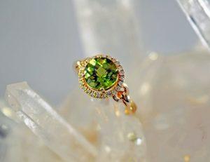 Peridot and diamond 8mm round halo 14K gold ring