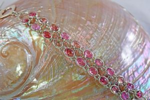 Pink tourmaline two-row bracelet