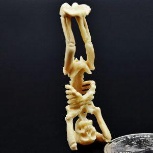 Skeleton handstand carved from fossil ivory