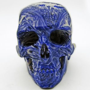 Skull carved from a bowling ball