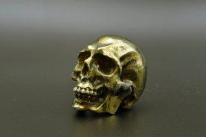 Chalcopyrite skull carving