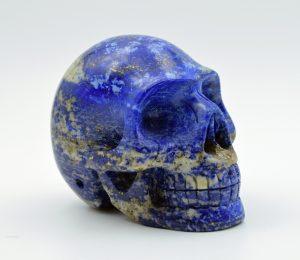 Lapis lazuli skull carving