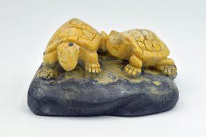 Mustard jasper turtles carving