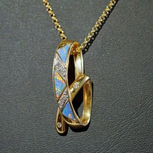 Australian opal and diamond 14K gold ribbon pendant