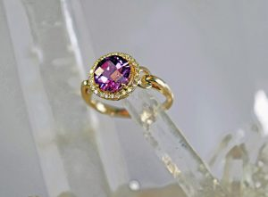 Alexandrite and diamond halo round 14K gold ring