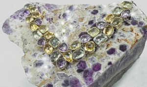 Amethyst, citrine, and green amethyst necklace