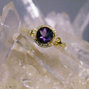 Amethyst diamond halo 14K gold ring
