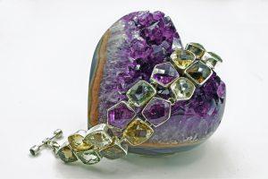 Amethyst and multicolor quartz bracelet
