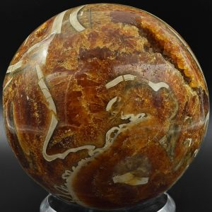 Ammonite calcite geode sphere