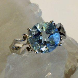 Aquamarine 10mm round 14K white gold ring