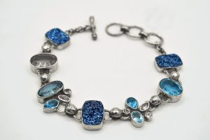 Blue drusy quartz and topaz bracelet