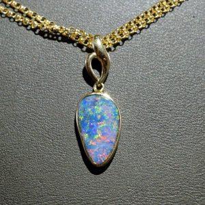 Boulder opal 14K gold pendant