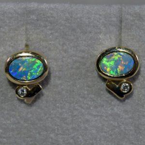 Boulder opal and diamond 14K gold earrings