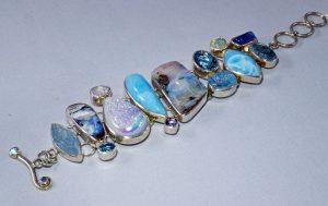Boulder opal and larimar stone bracelet