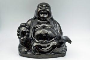 Anthracite coal Buddha carving