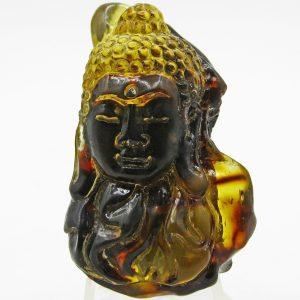 Buddha head carved from Sumatra blue amber