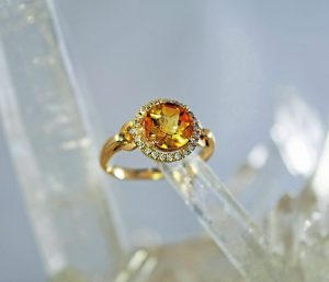 Citrine and diamond 8mm round halo 14K gold ring