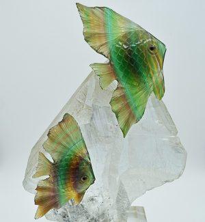 Fluorite fish carving on selenite