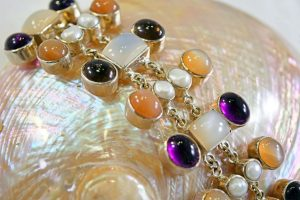 Moonstone, peach moonstone, smoky quartz, and pearls bracelet