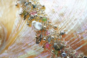 Pink and green tourmaline mesh with charms bracelet