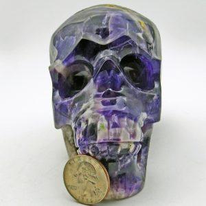 Amethyst Chevron Skull Carving