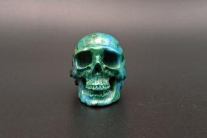 Chrysocolla malachite skull carving