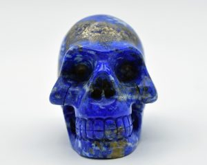 Lapis skull carving