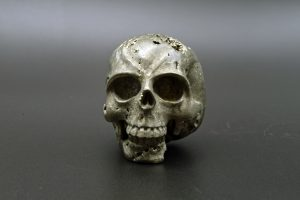 Pyrite skull carving