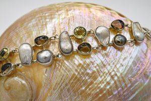 Smoky quartz, citrine and pearl bracelet